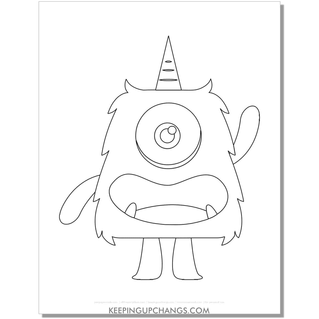 free one horned one eyed monster coloring page.