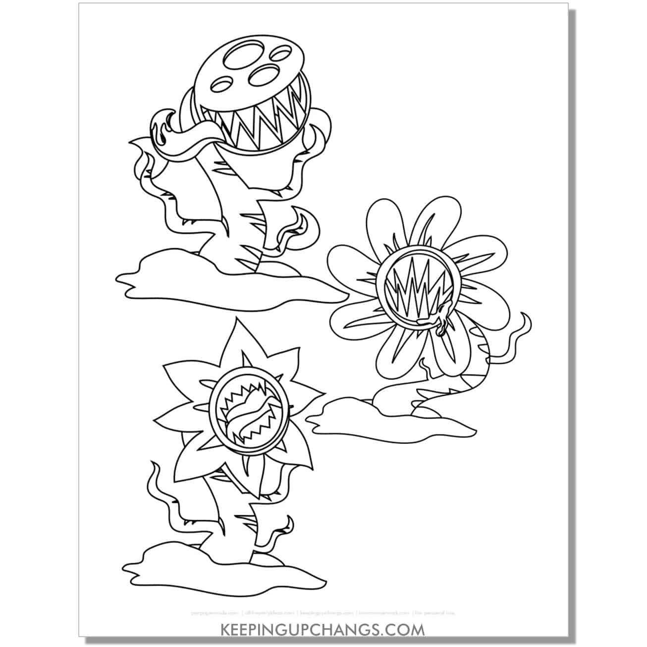 free zombie plant monster coloring page.