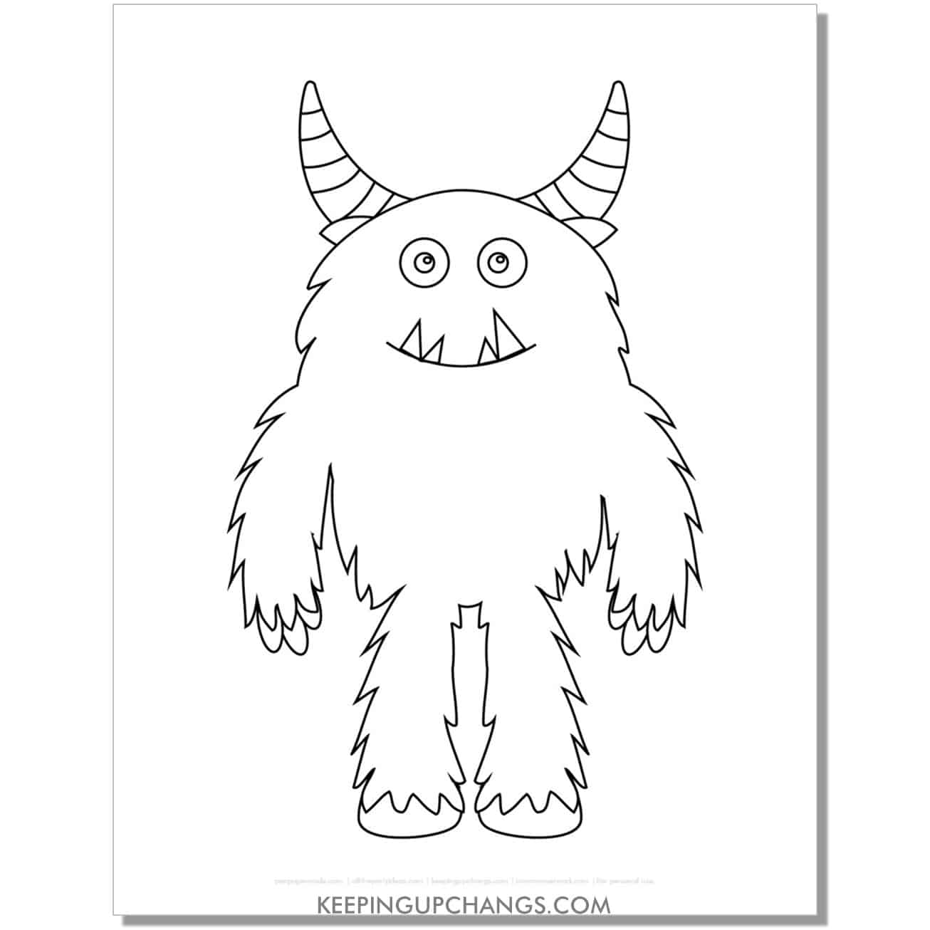 free tall, fuzzy monster with horns coloring page.