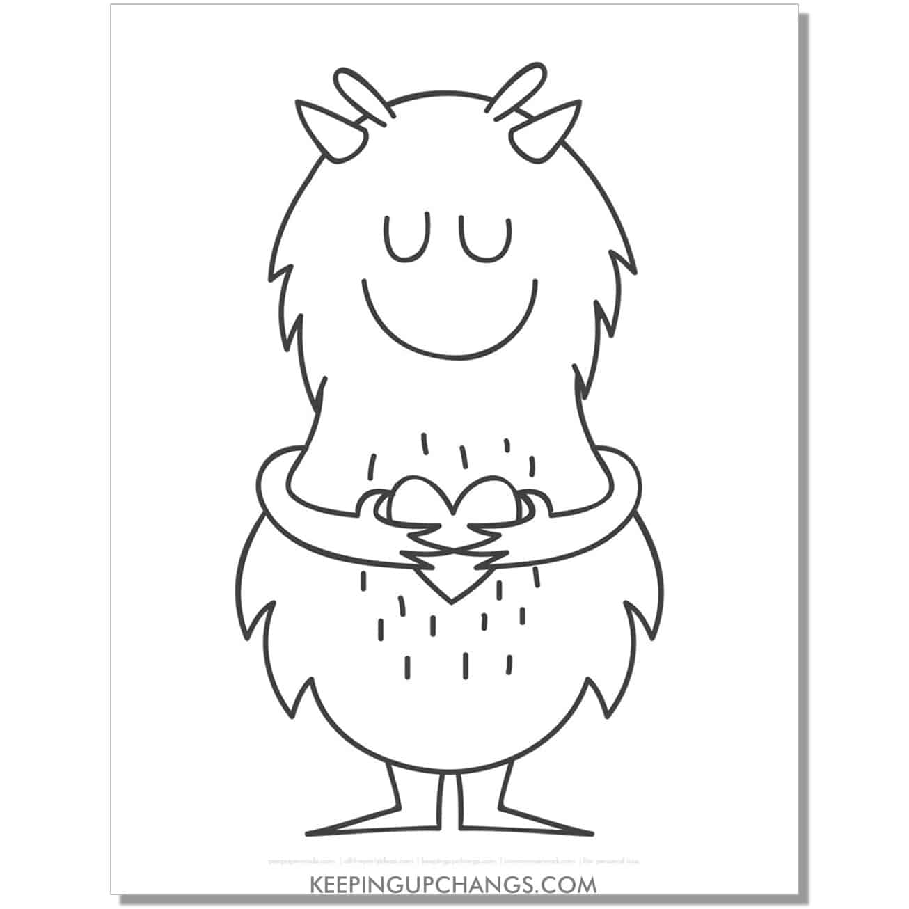 free friendly furry monster with love coloring page.