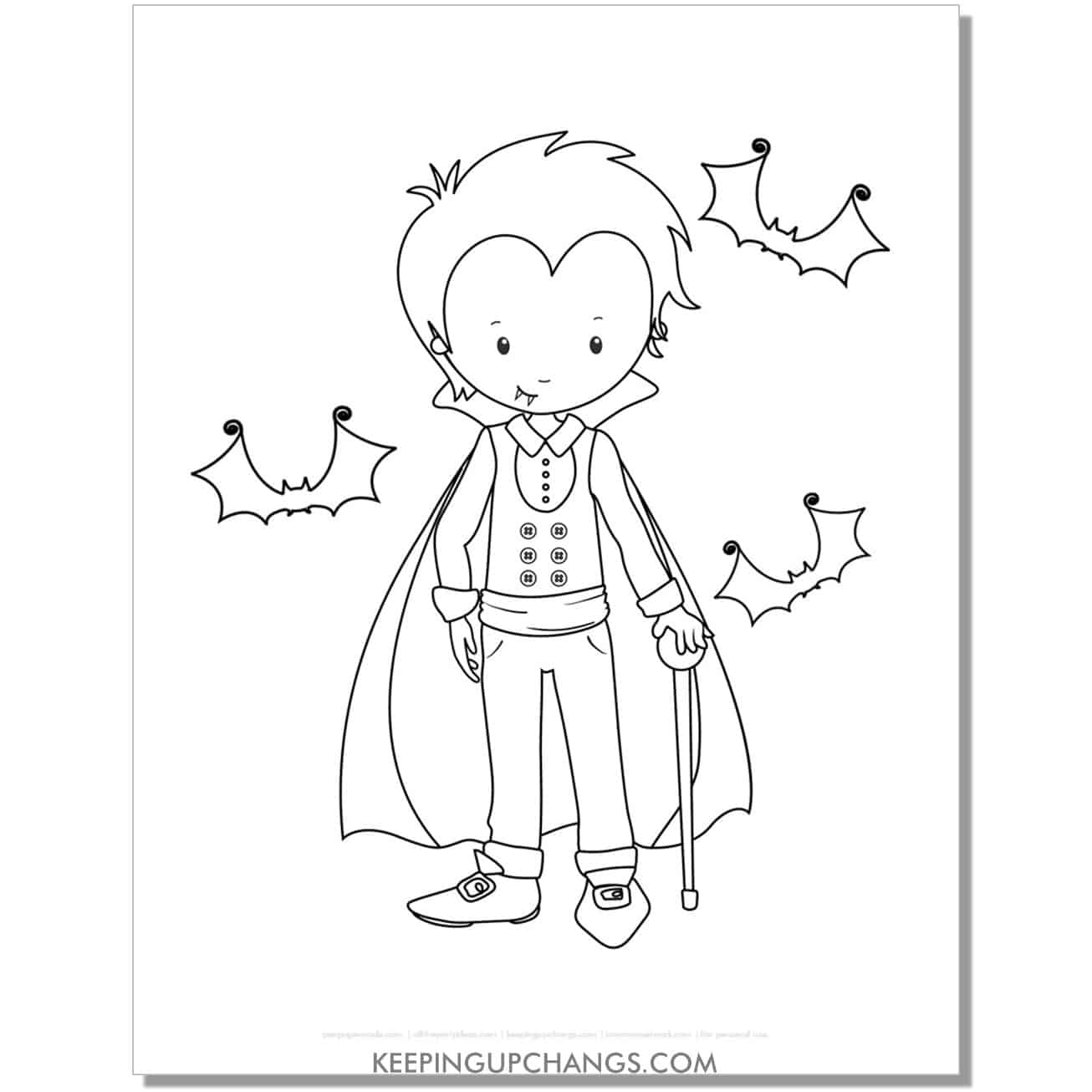 free vampire boy with cane and bats coloring page.