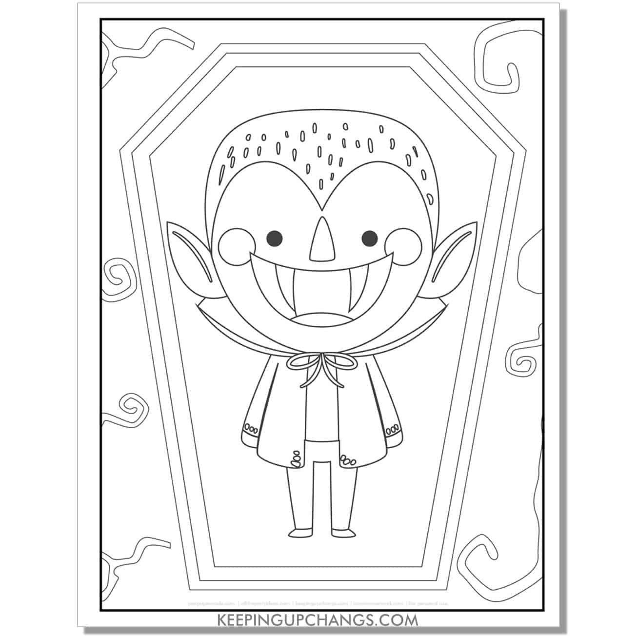 free cute vampire boy in coffin coloring page.