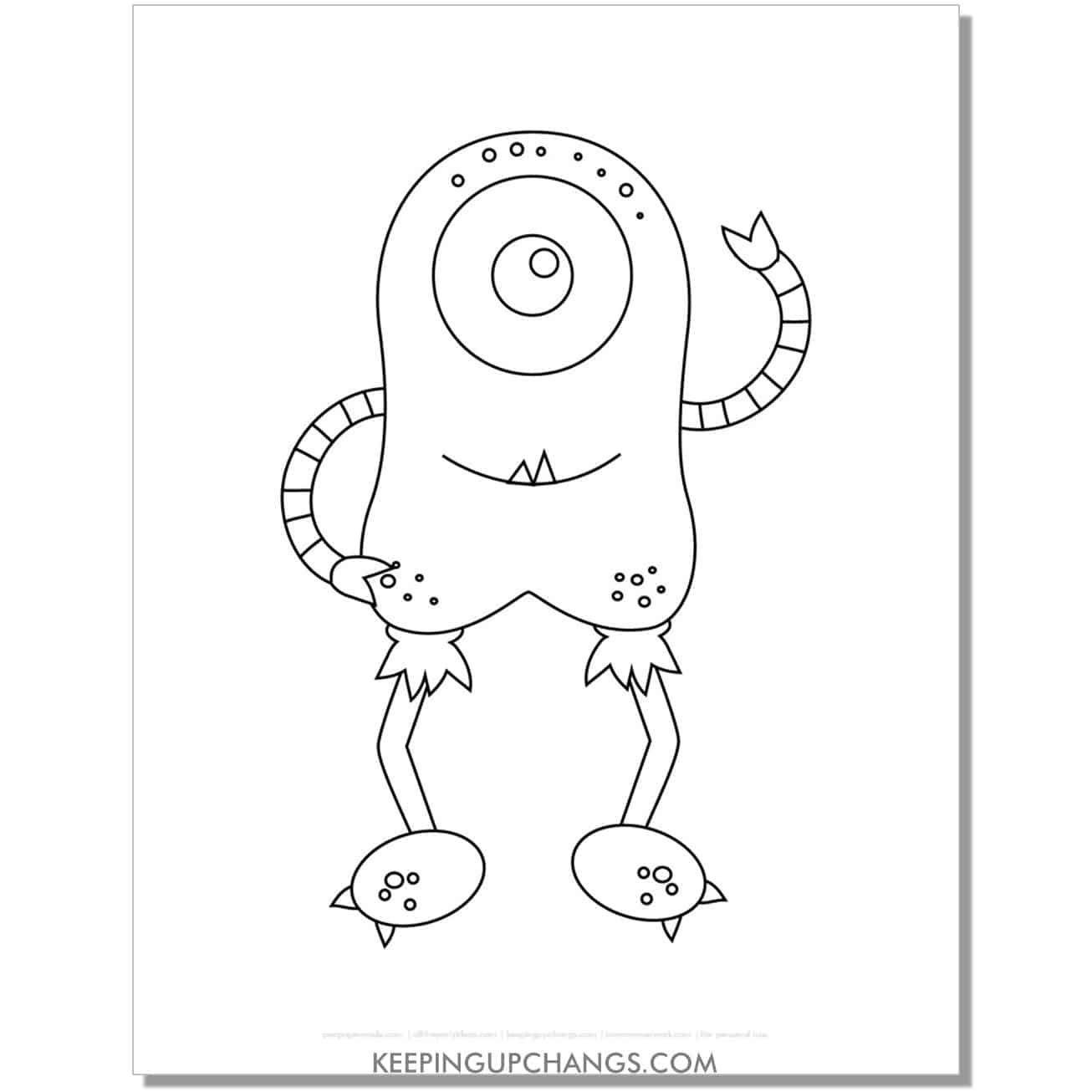 free tall round monster with long legs and arms coloring page.