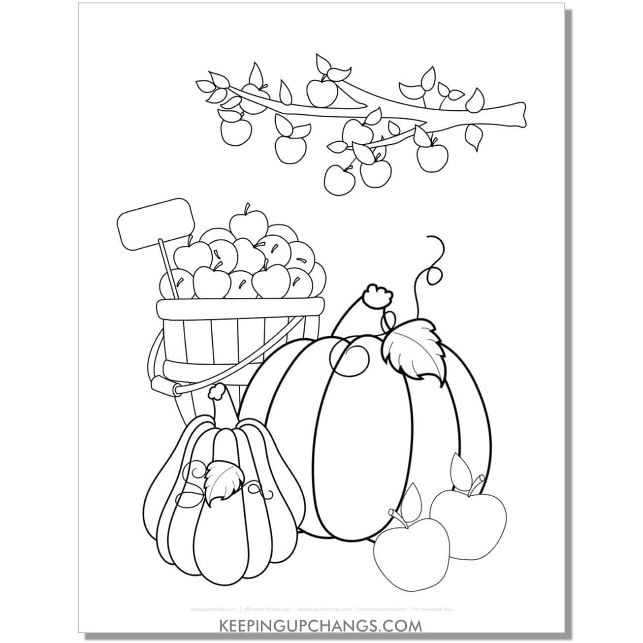 free pumpkin and apple coloring page for fall, thanksgiving.