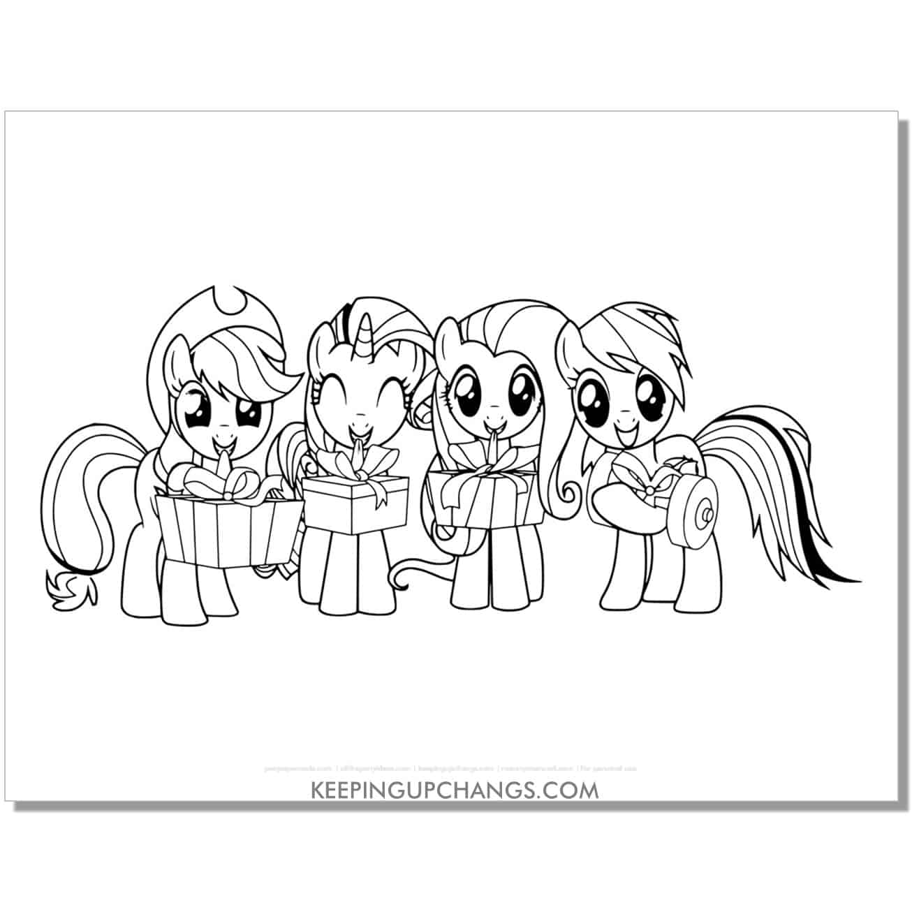 free christmas my little pony coloring page.