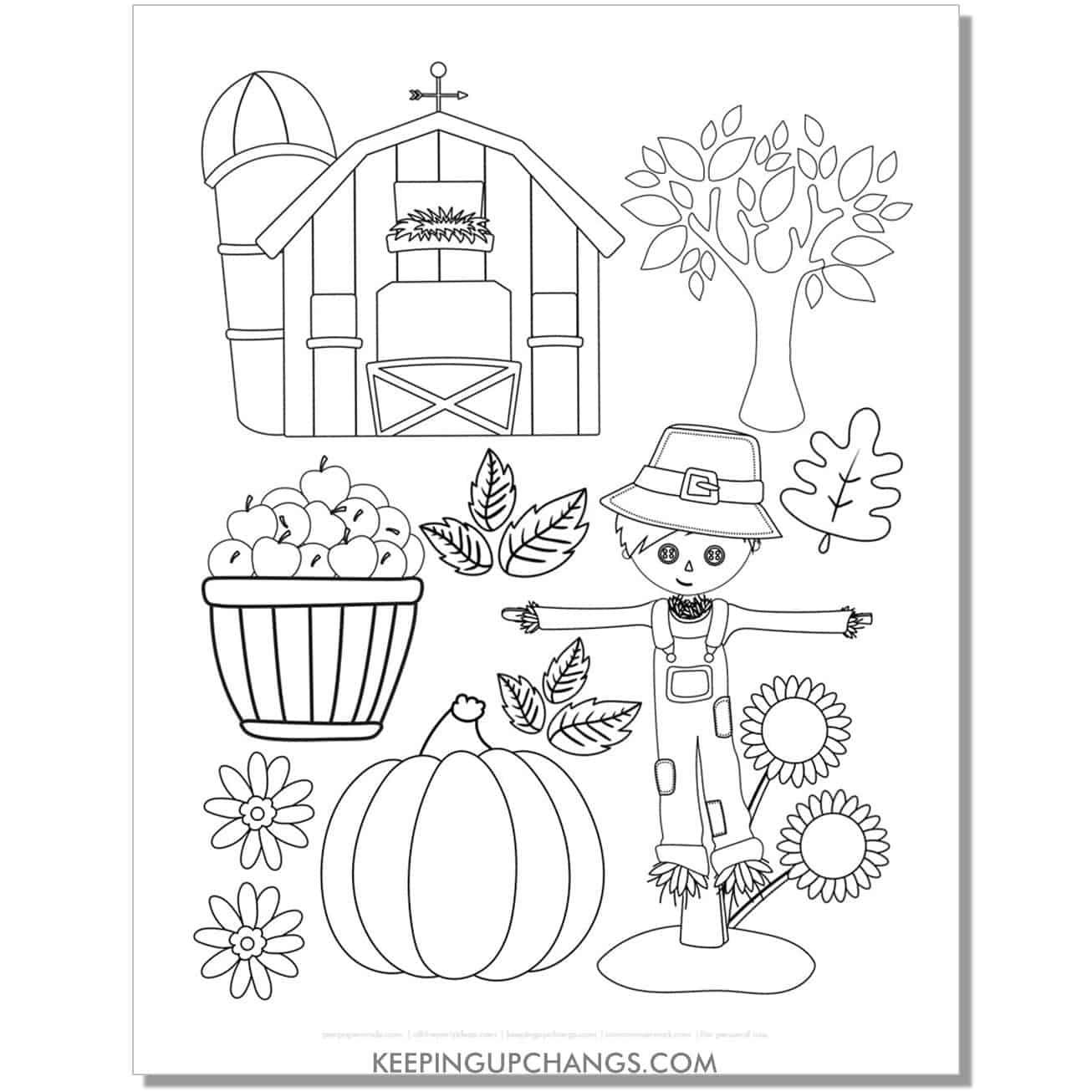 free autumn barn, scarecrow, sunflower, apple, pumpkin coloring page for fall, thanksgiving.