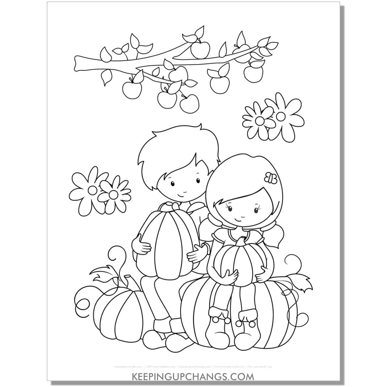 free pumpkin harvest kids coloring page for fall, thanksgiving.