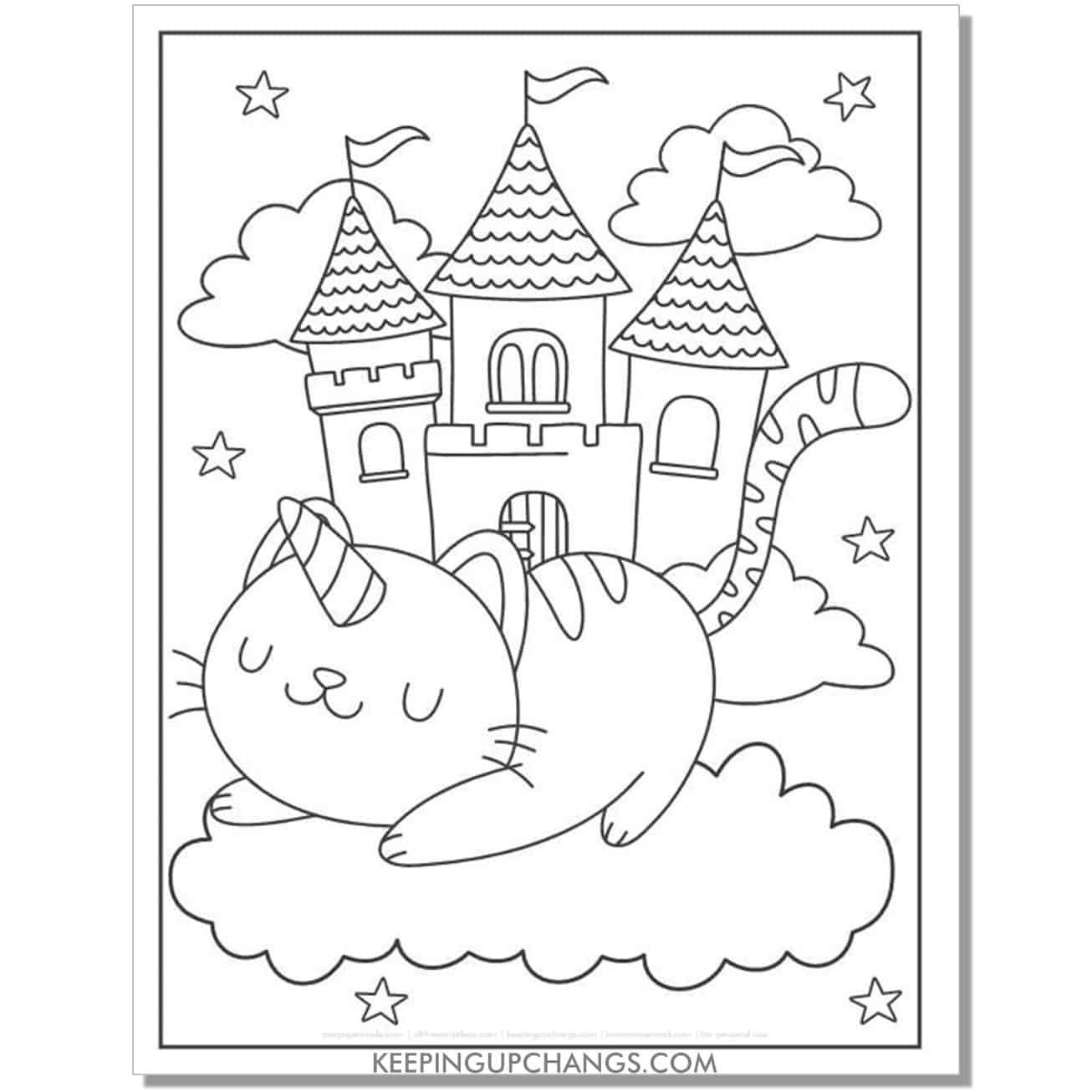 cat unicorn princess castle coloring page.