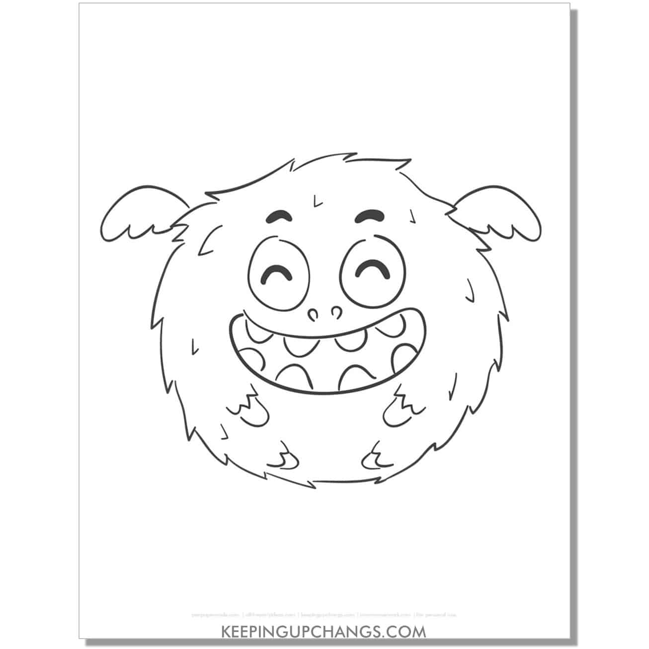 free happy round, fuzzy monster coloring page.