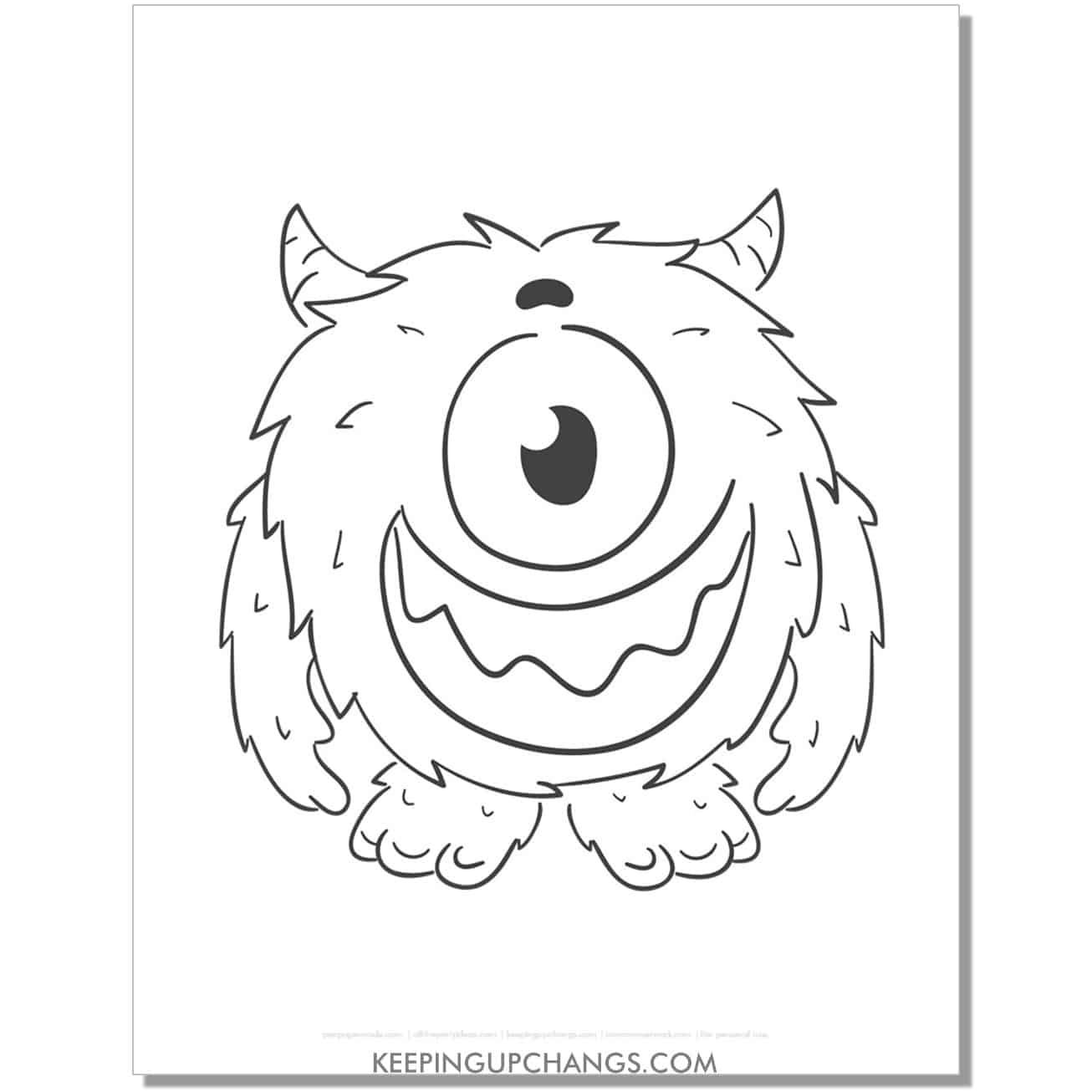 free one eyed furry monster coloring page.