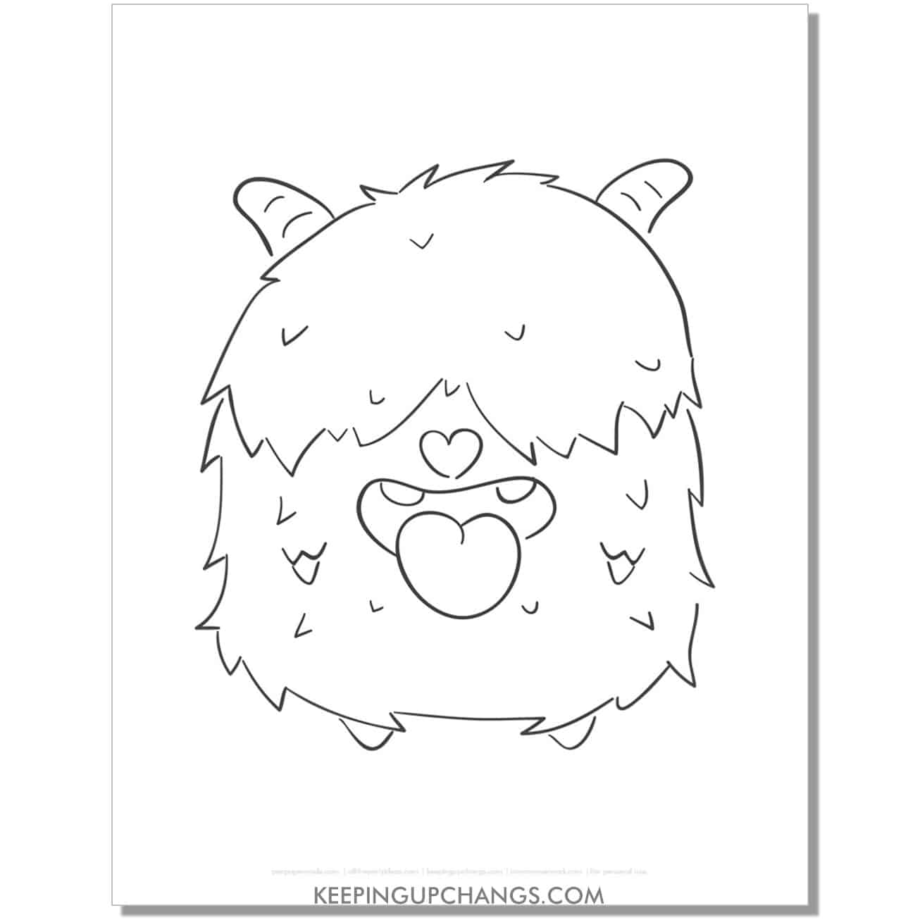 free shy fuzzy monster coloring page.