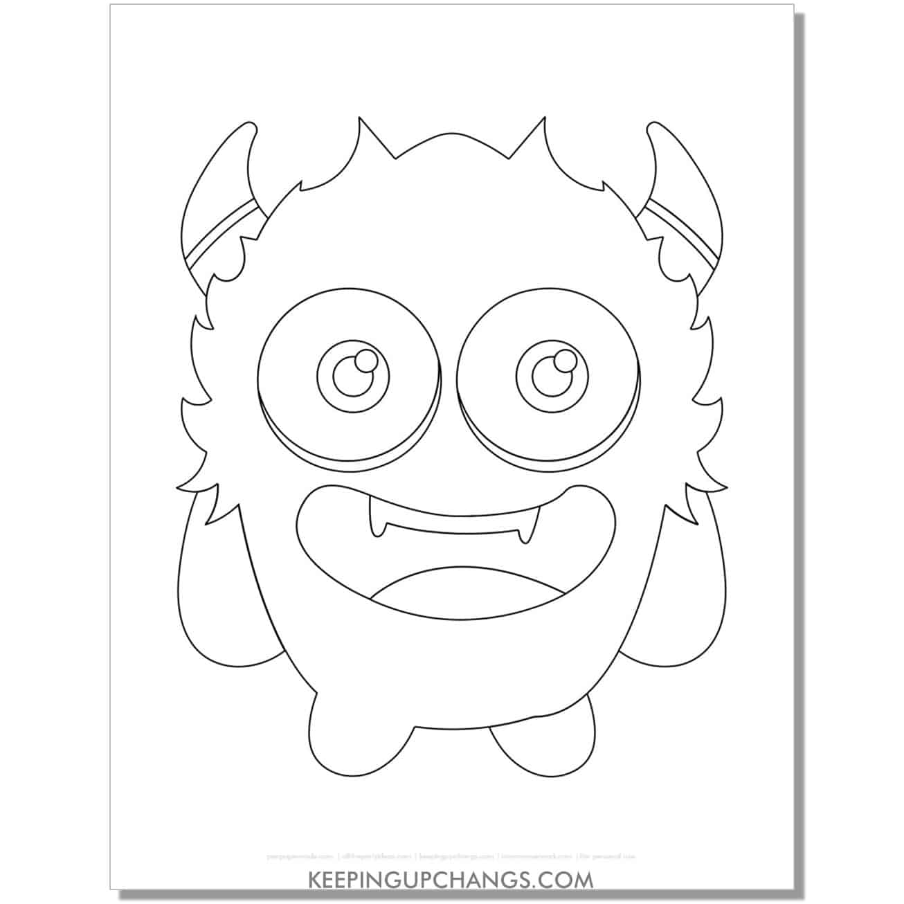 free adorable monster coloring page.