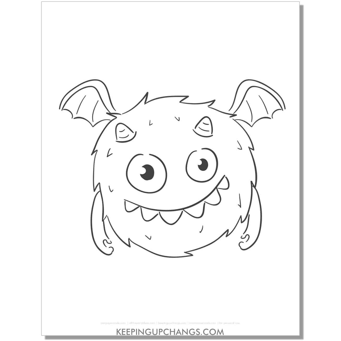 free round, fuzzy, flying monster coloring page.