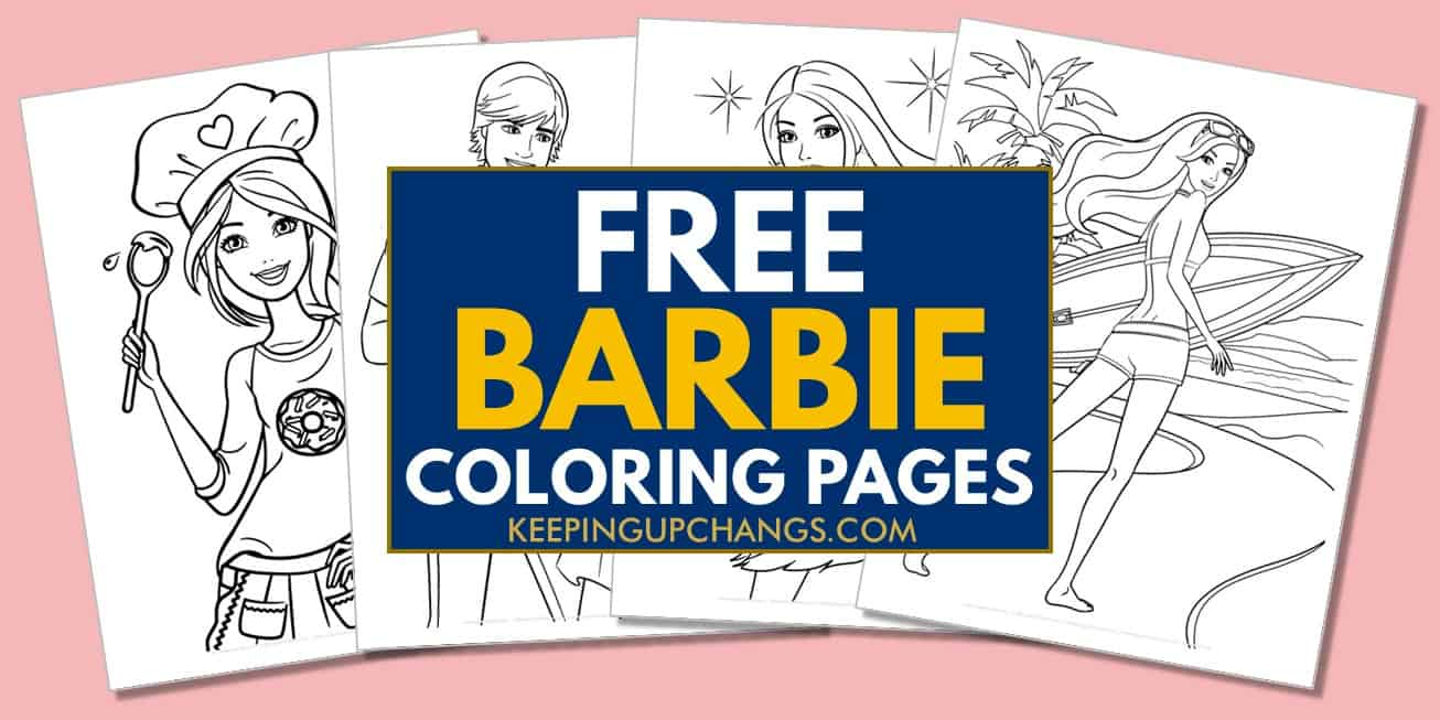 spread of free barbie coloring pages.