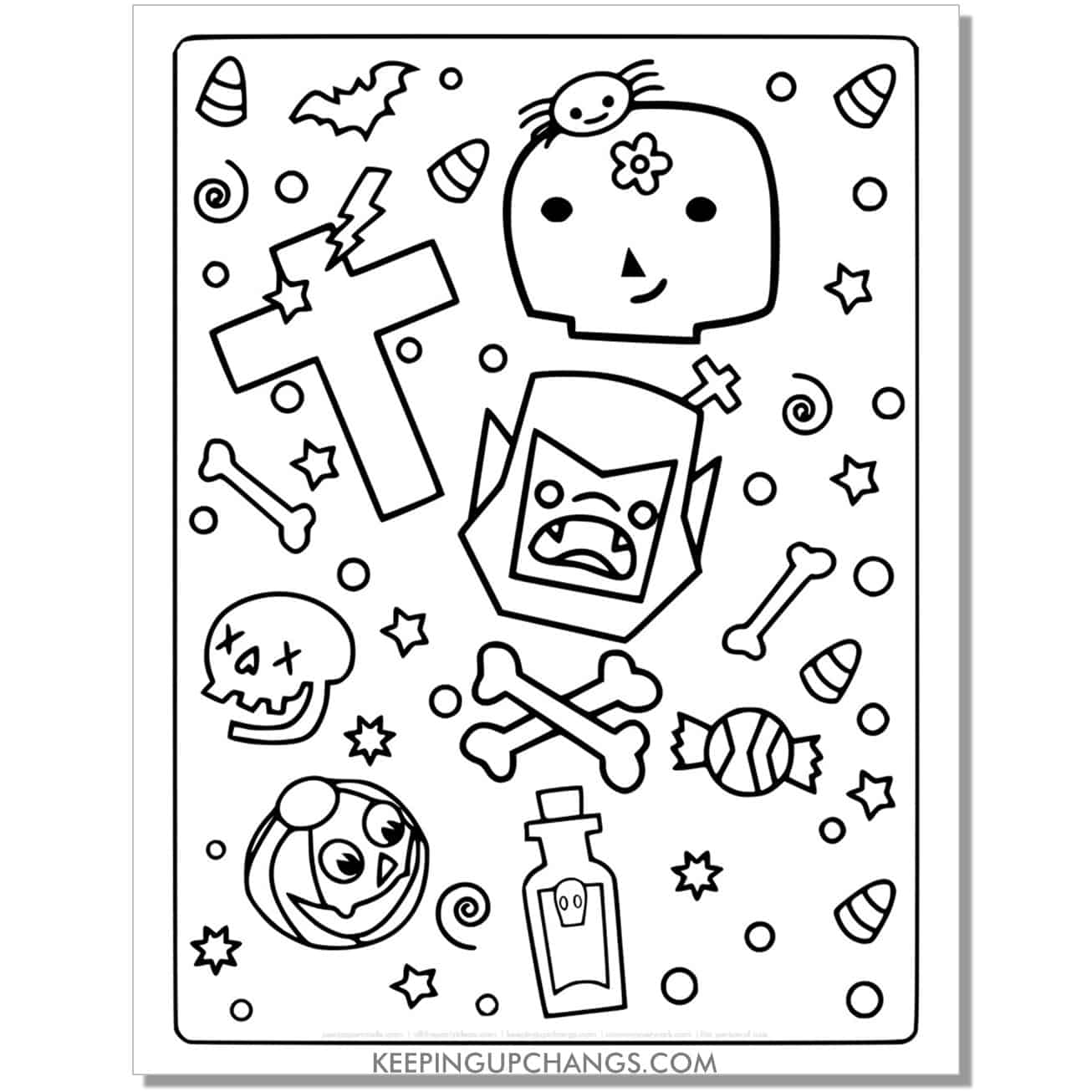 free halloween bat face, jack o lantern, skull full size coloring page.