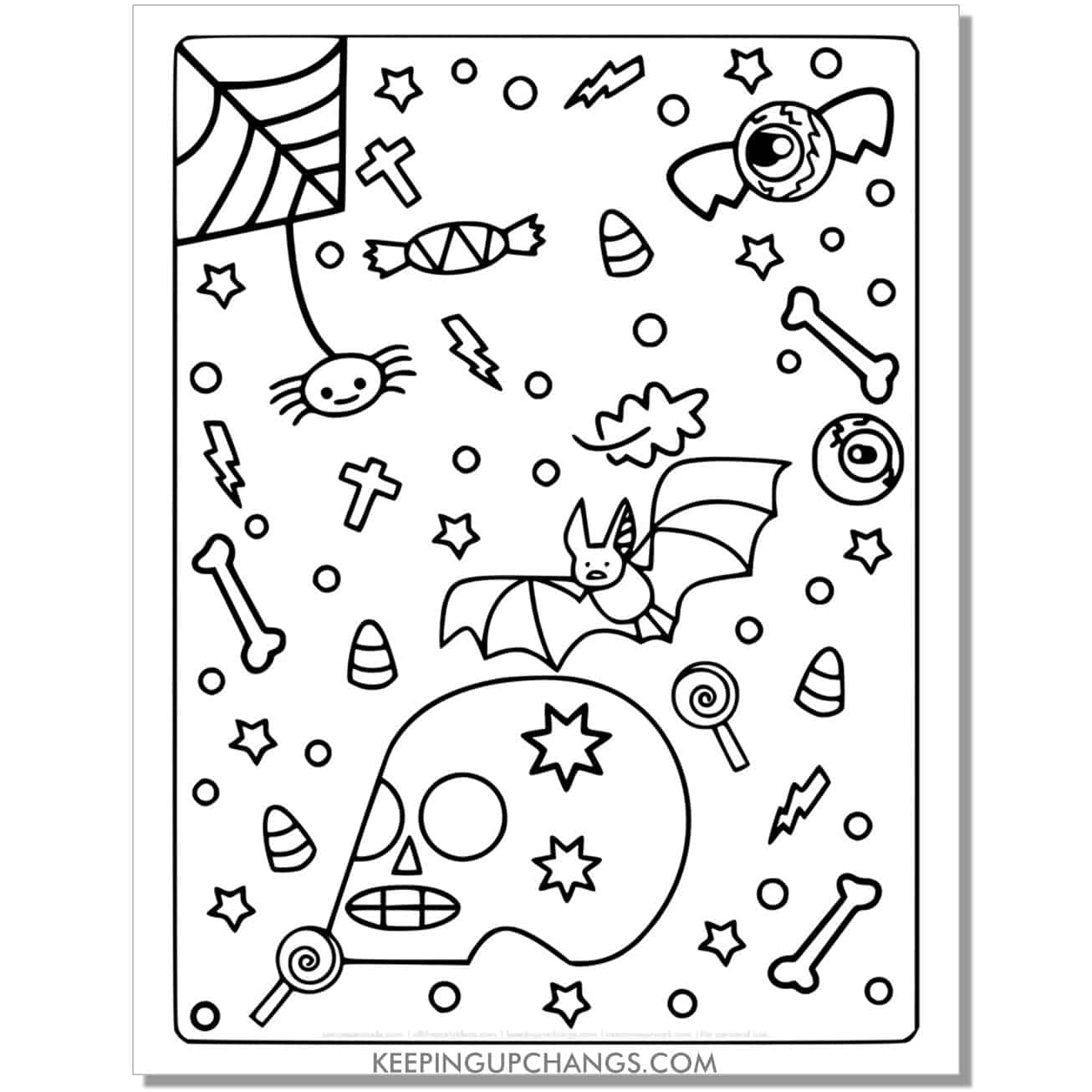 free halloween spider, bat, skull full size coloring page.