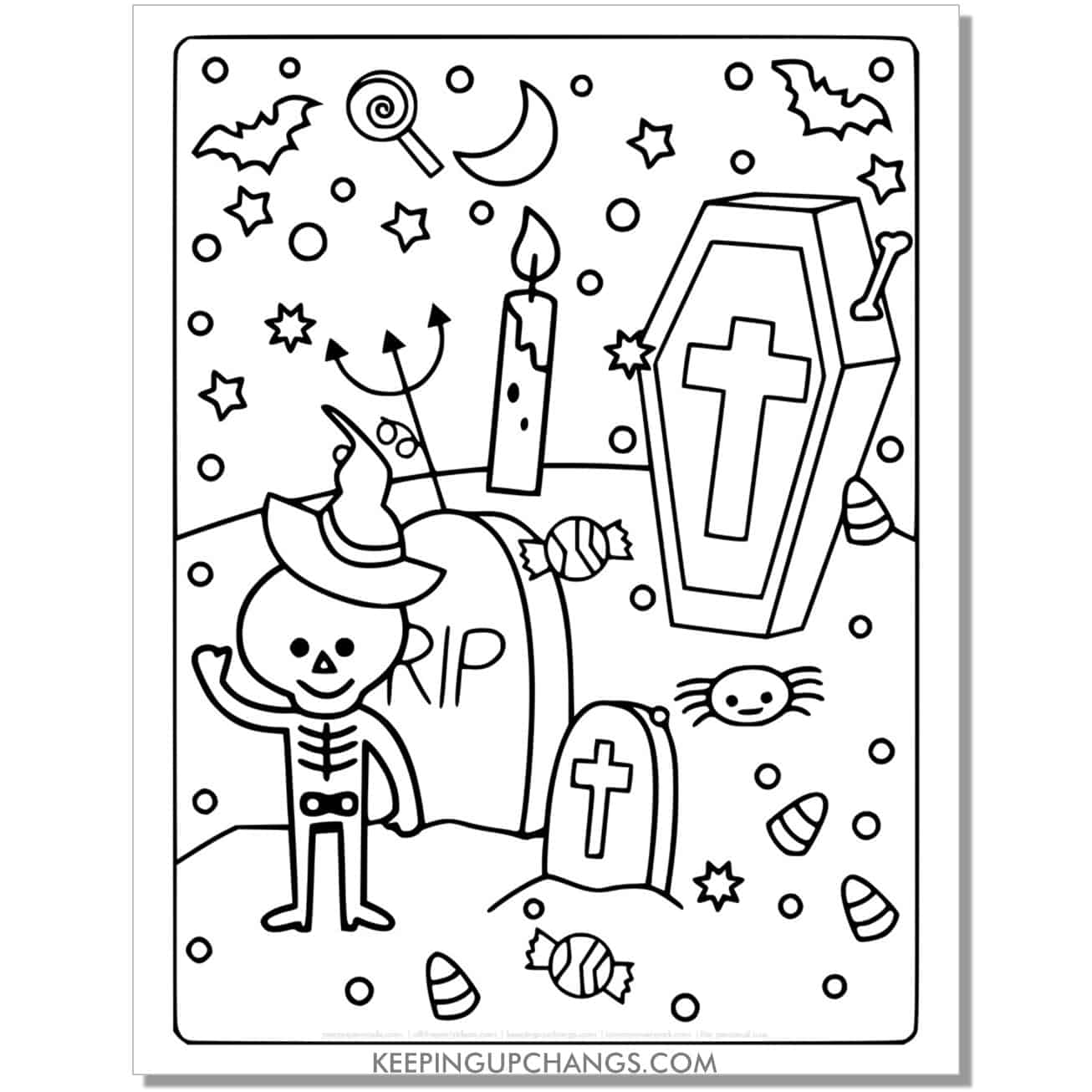 free skeleton, tombstone, coffin full-size halloween coloring page.