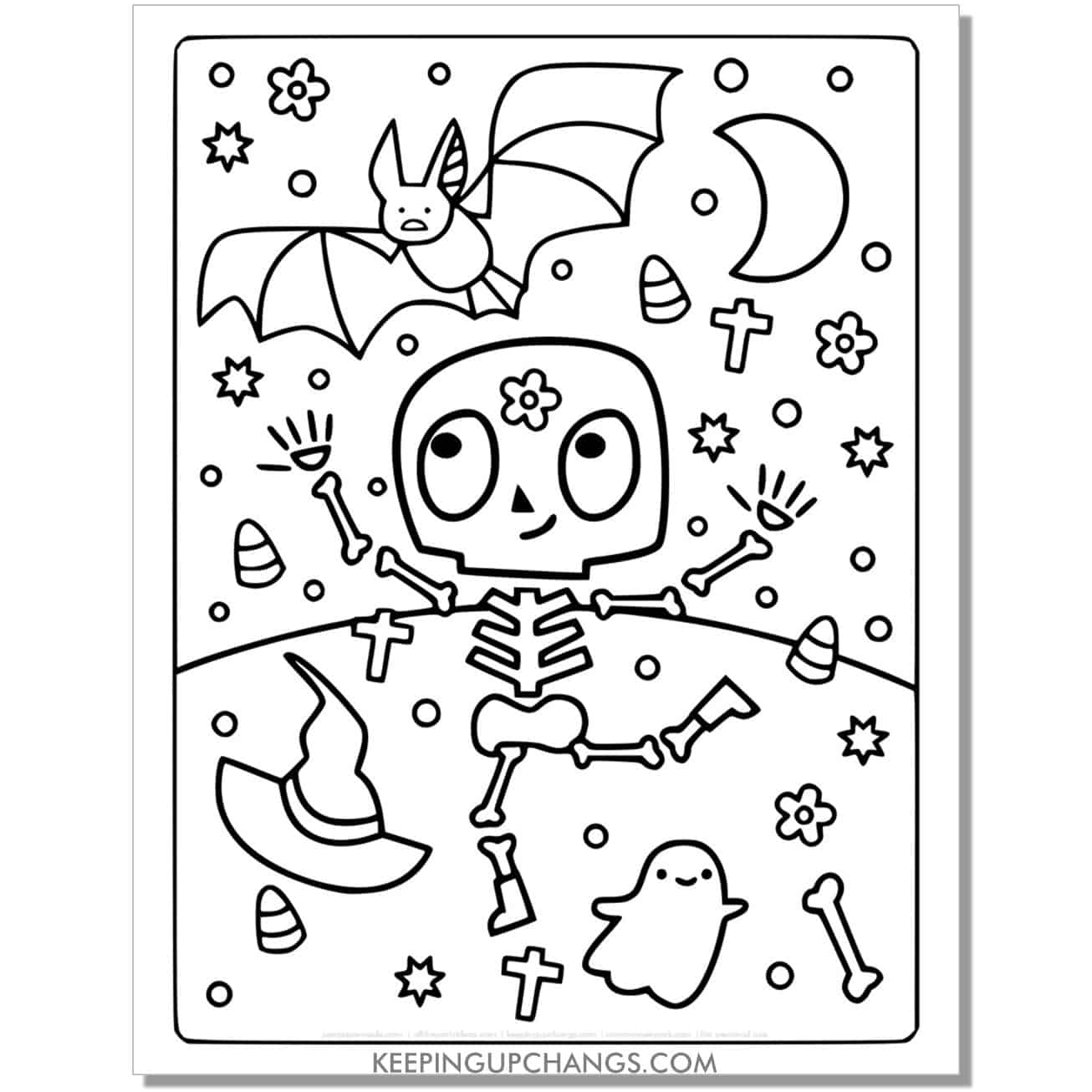 free bat, skeleton, witch hat full size halloween coloring page.