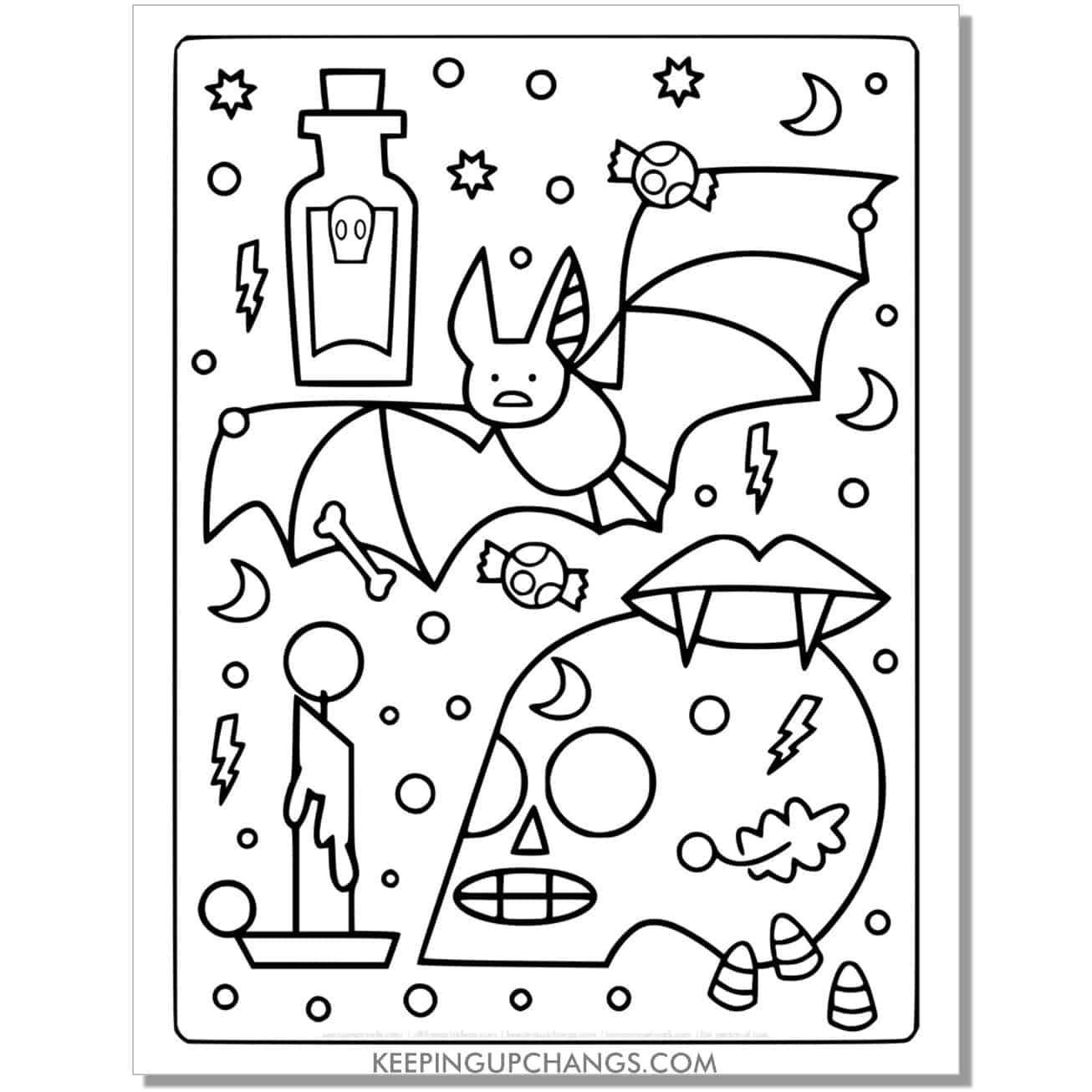 free skull, vampire fangs, bat, candle full size halloween coloring page.