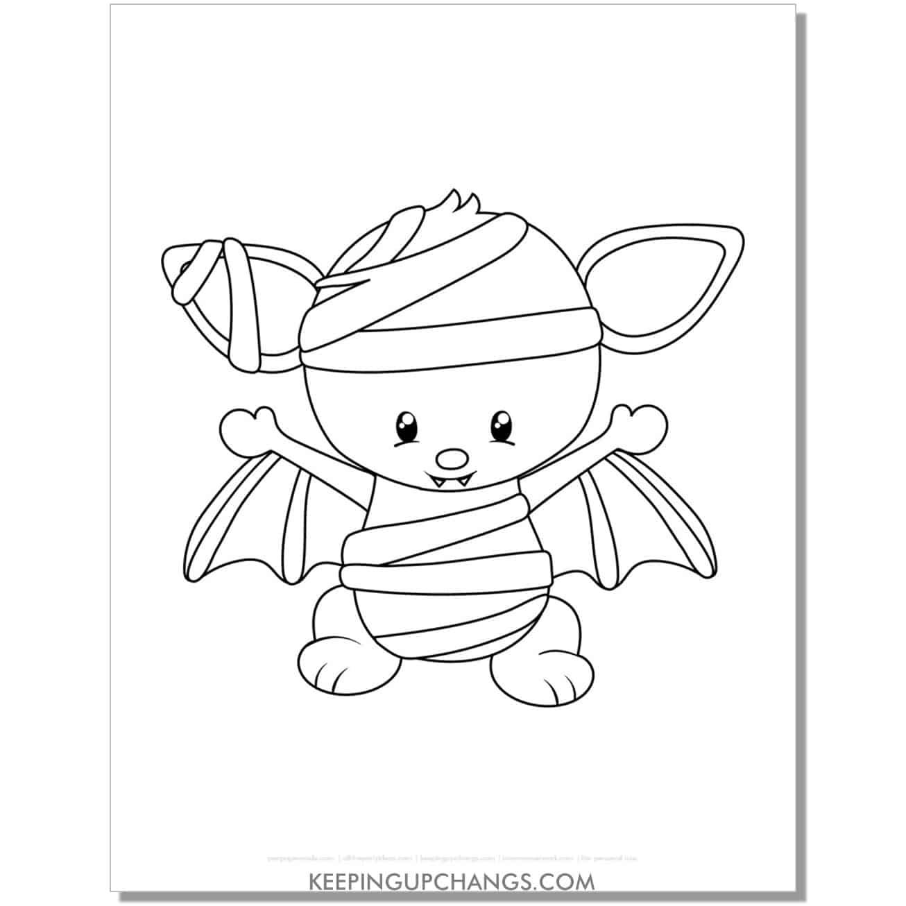free cute halloween mummy bat coloring page.