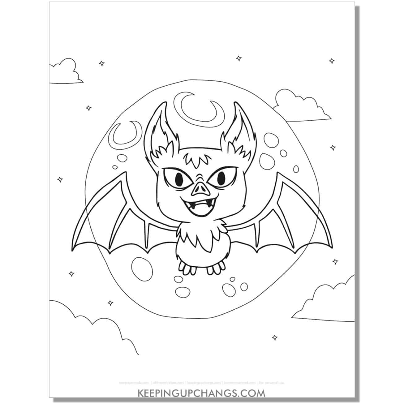 free realistic halloween bat coloring page.