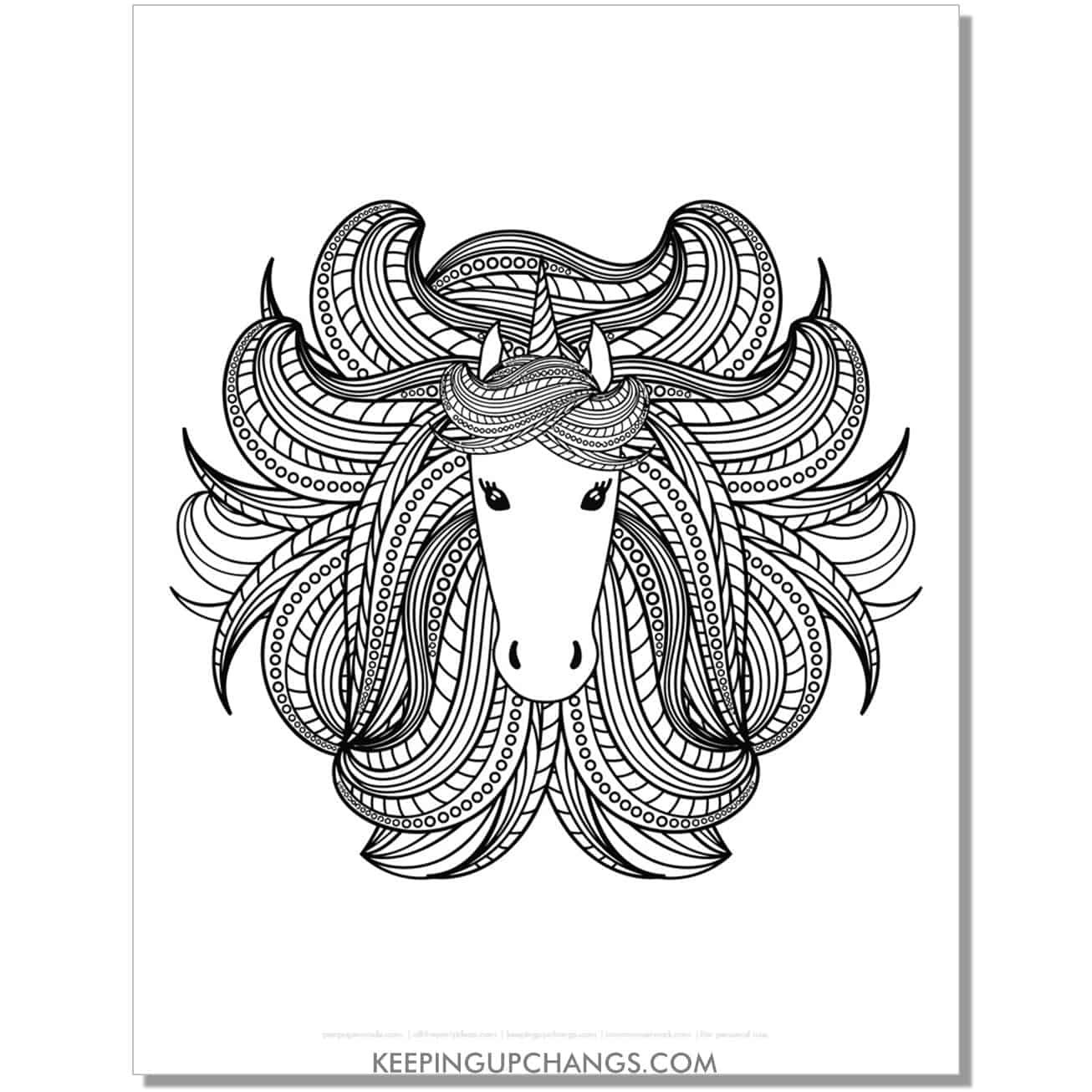 unicorn head zentangle hair coloring page.
