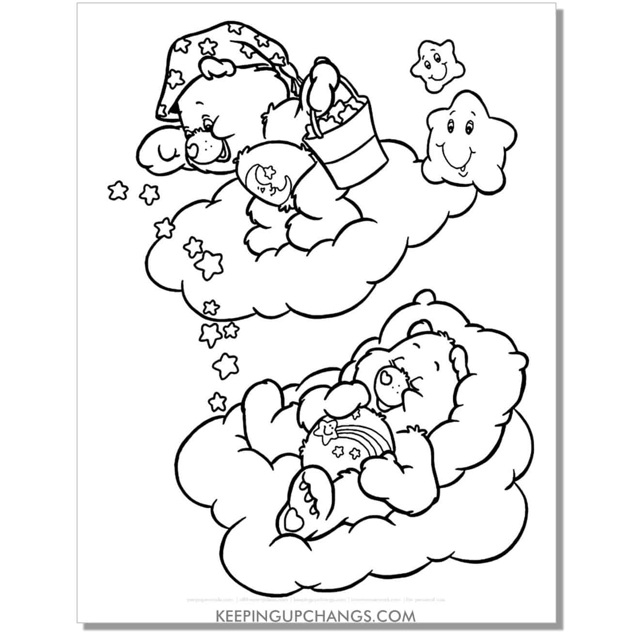 bedtime and wish care bears going to sleep coloring page.