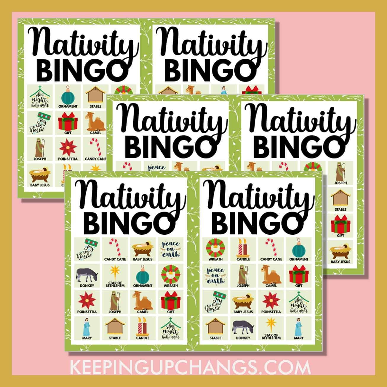 free nativity bible christmas bingo 4x4 game cards.
