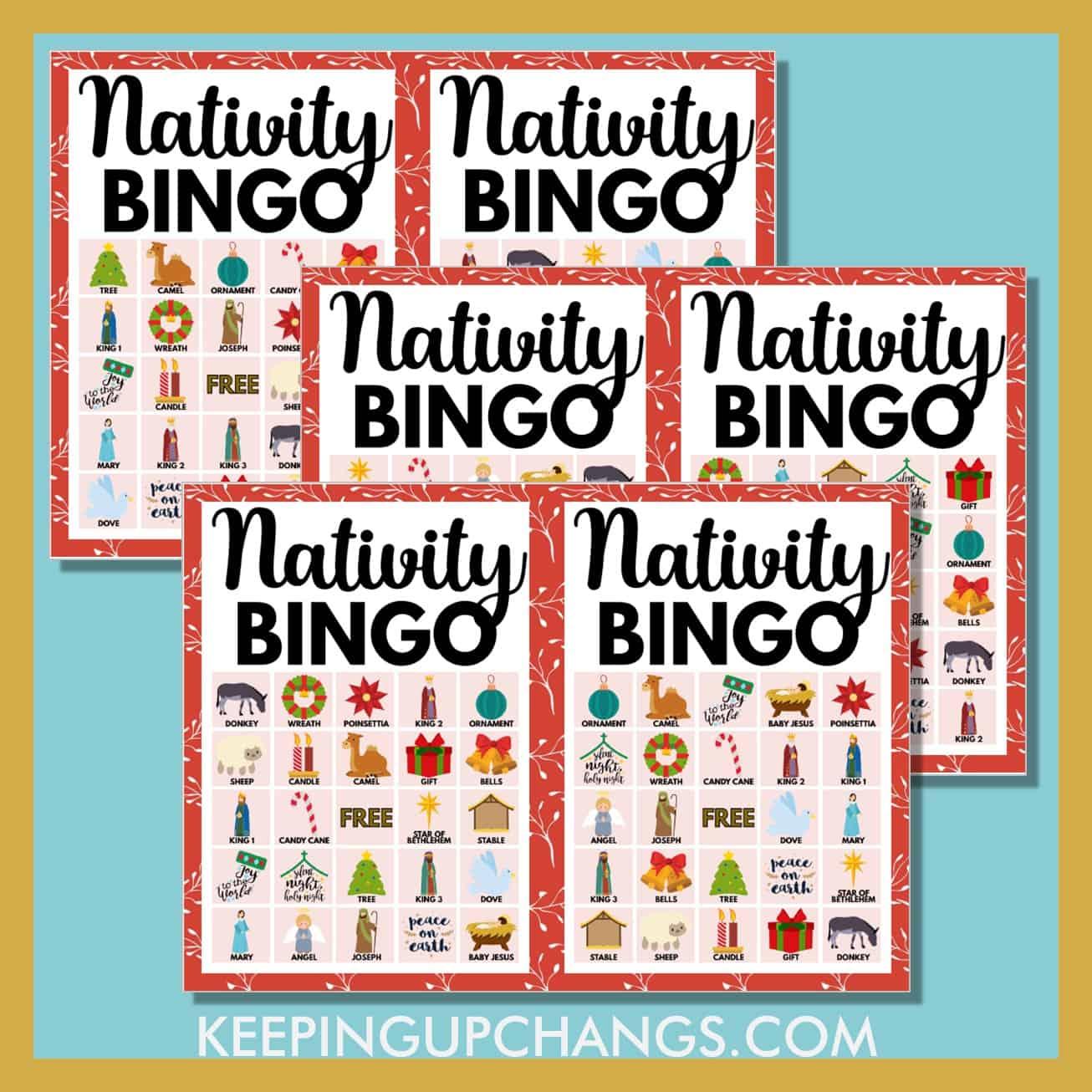 free nativity bible christmas bingo 5x5 game cards.