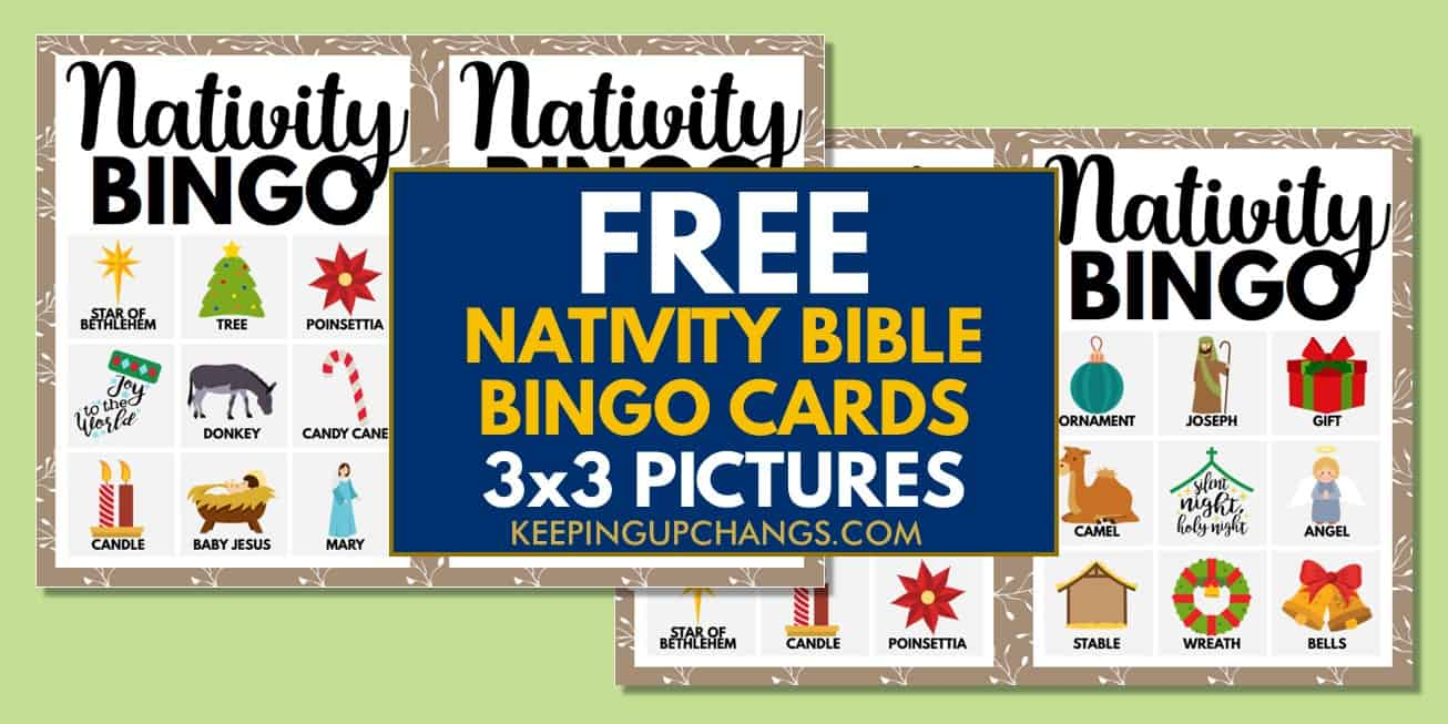 free bible nativity christmas bingo cards 3x3 for party, school, group.