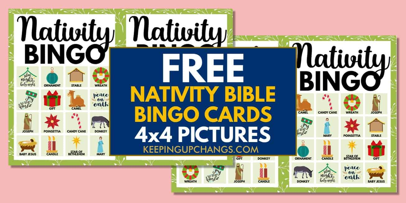 free bible nativity christmas bingo cards 4x4 for party, school, group.