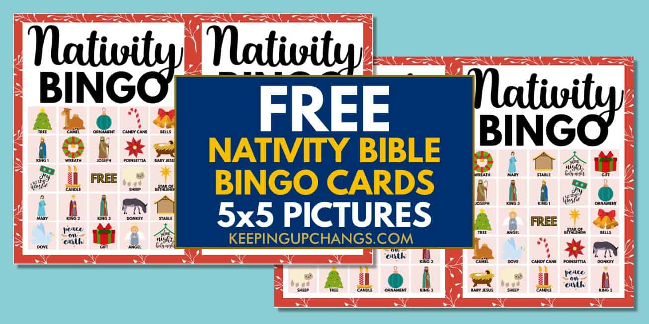 free bible nativity christmas bingo cards 5x5 for party, school, group.