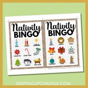 free bible nativity christmas bingo card 3x3 5x7 game boards with images and text words.