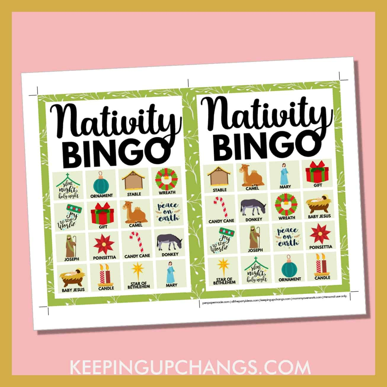 free bible nativity christmas bingo card 4x4 5x7 game boards with images and text words..