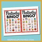 free bible nativity christmas bingo card 5x5 5x7 game boards with images and text words.