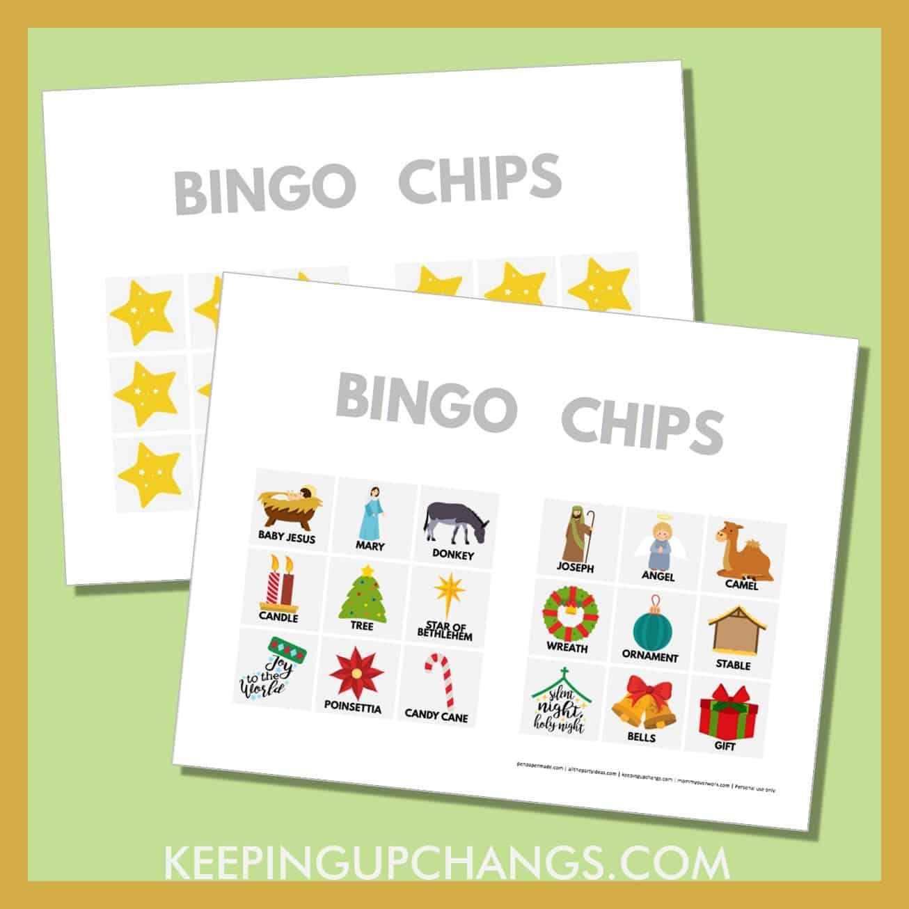 free bible nativity christmas bingo card 3x3 game chips, tokens, markers.