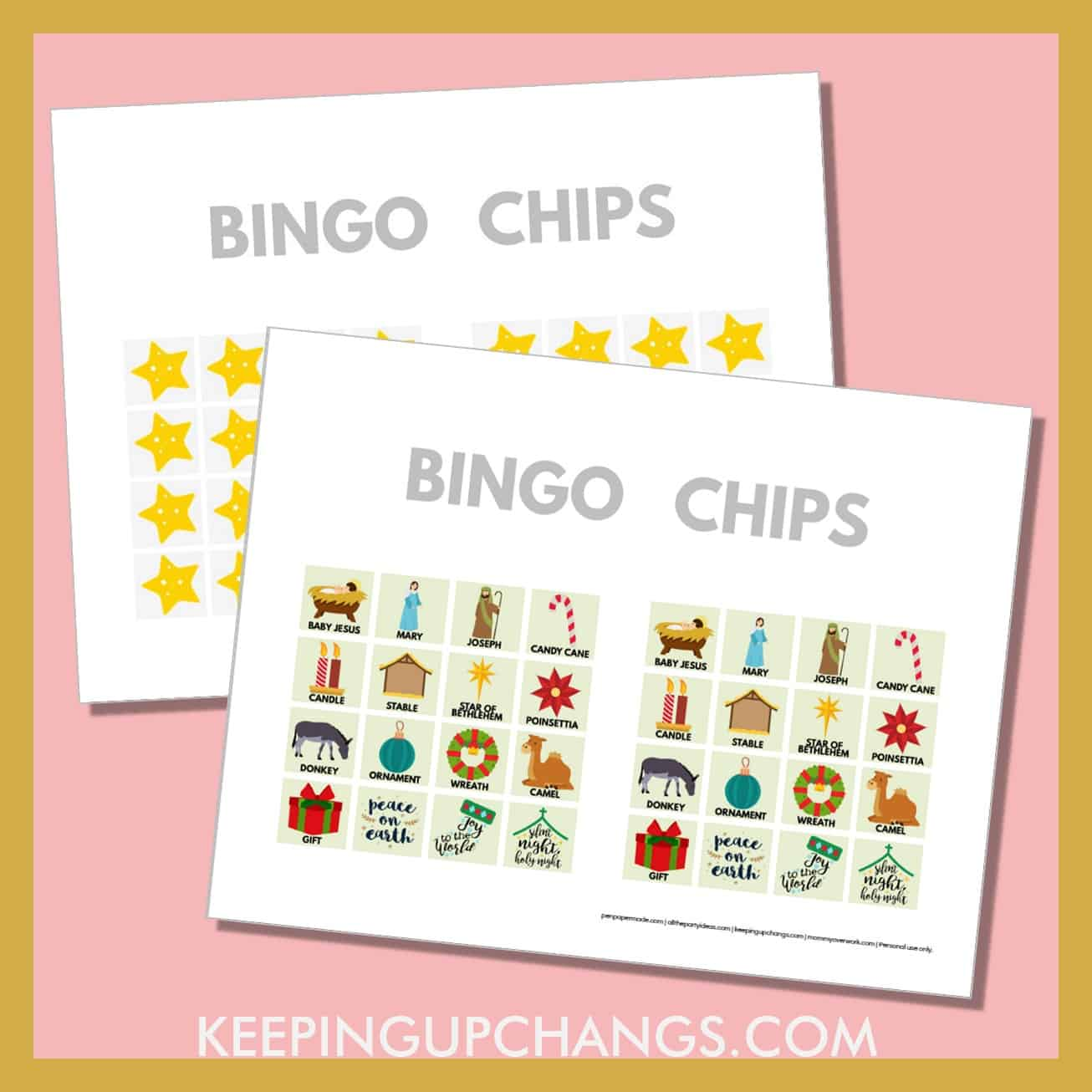 free bible nativity christmas bingo card 4x4 game chips, tokens, markers.