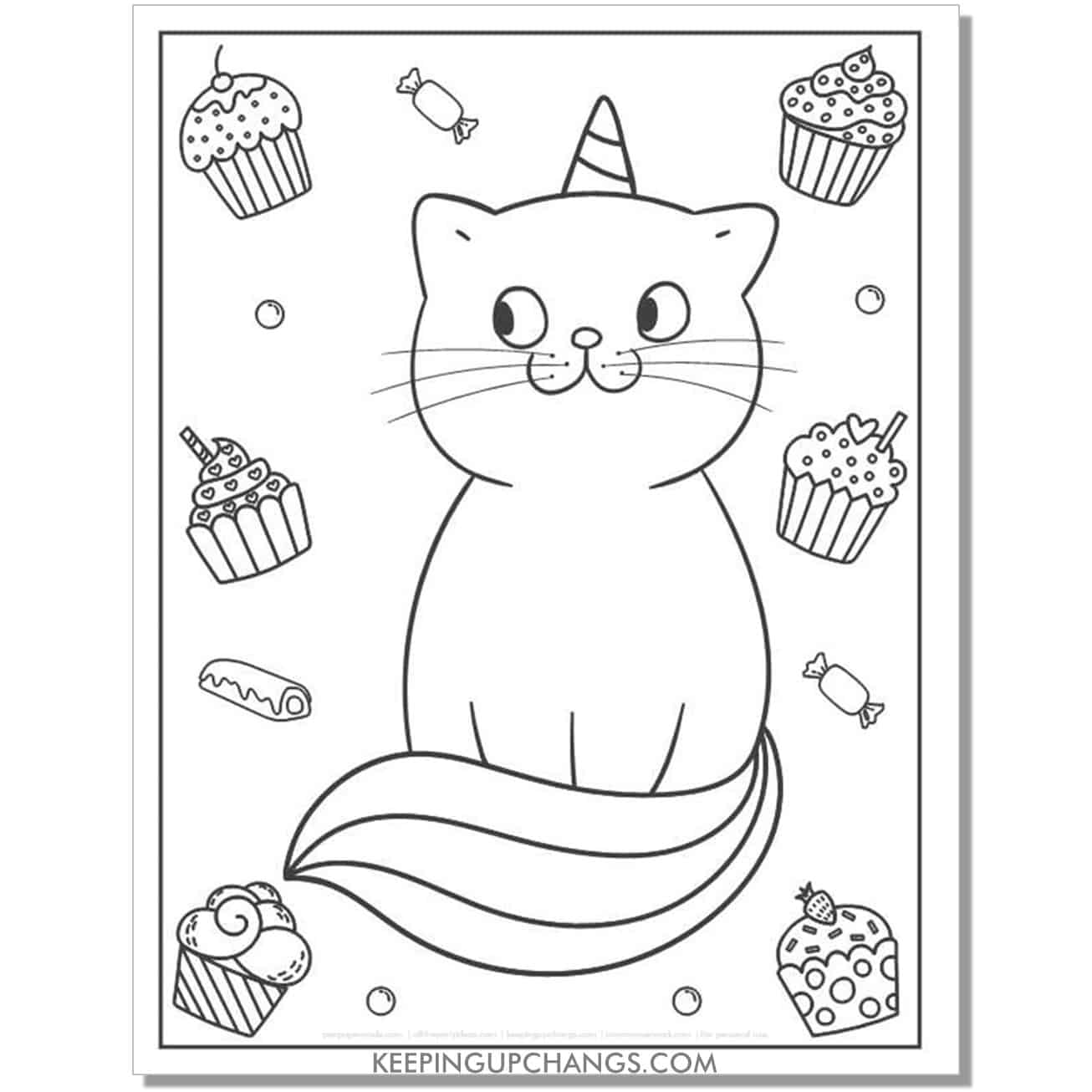 cat unicorn cupcakes candy lollipop coloring page.
