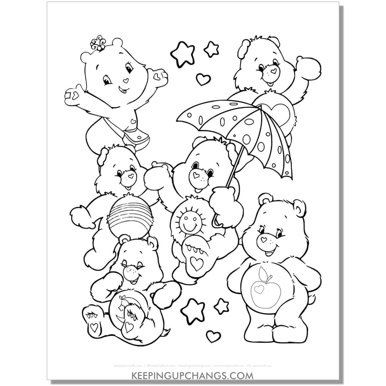 care bear coloring page with wonderheart, tender heart, funshine, take care, bedtime and smart heart bears.