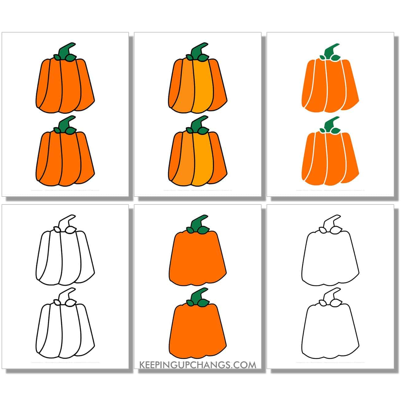 free medium square, rectangle, box pumpkin in color, black and white, silhouette, 2 to a page.