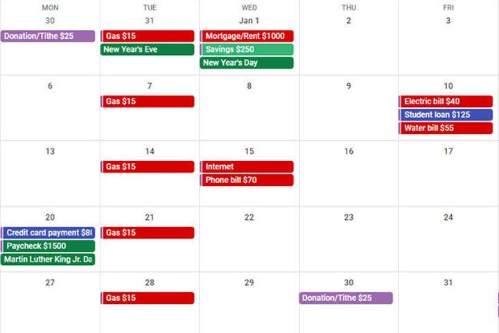 free google budget calendar