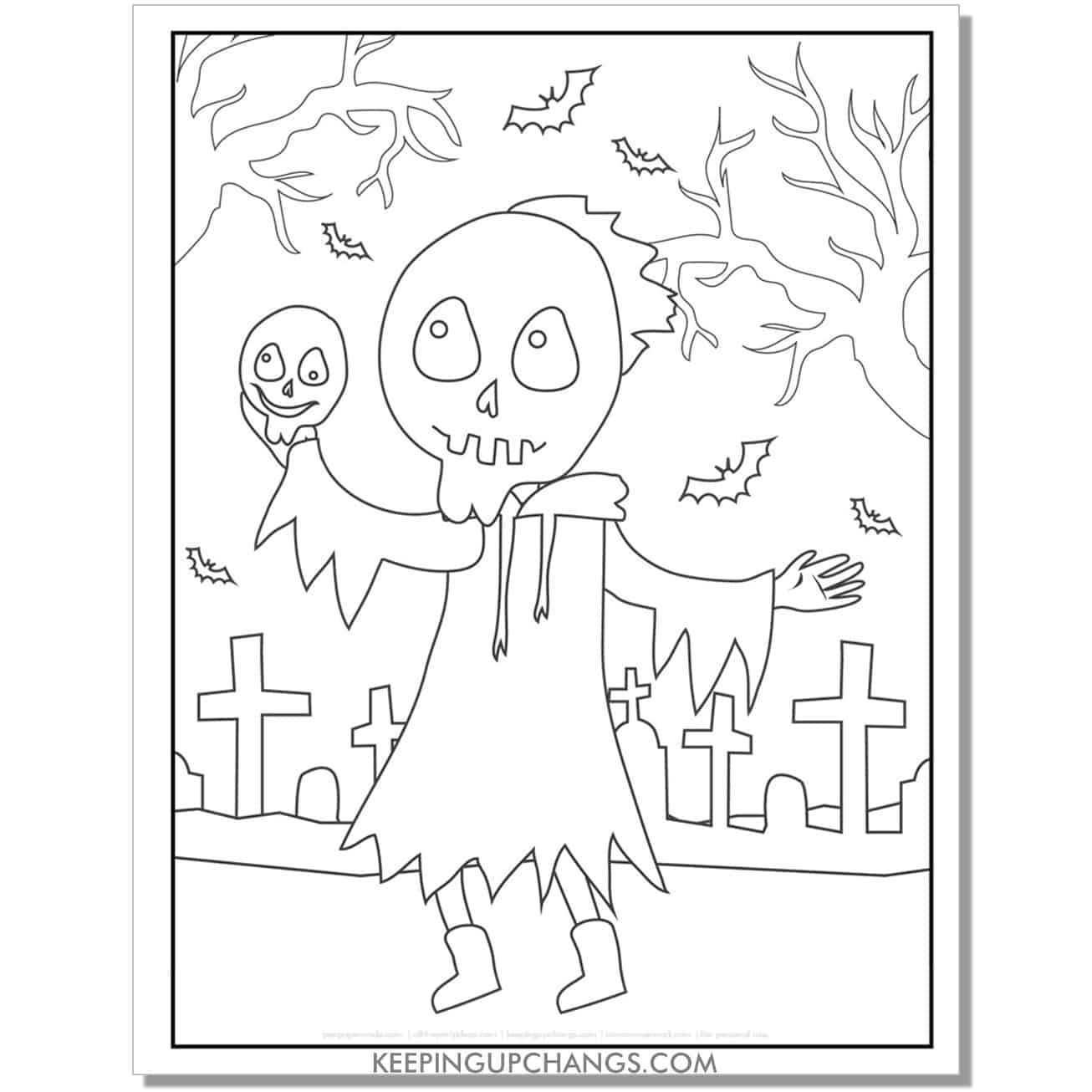 free burning skull full size halloween coloring page.