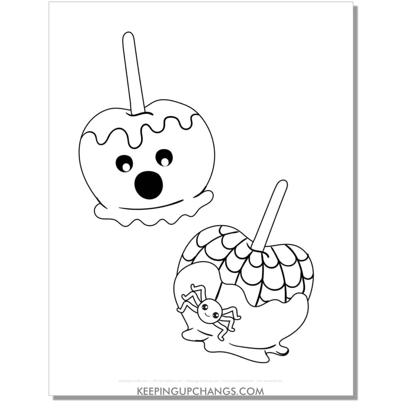 free candy apple halloween coloring page for kids.