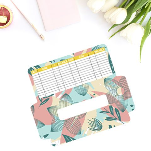 free cash envelope printable template floral botanical