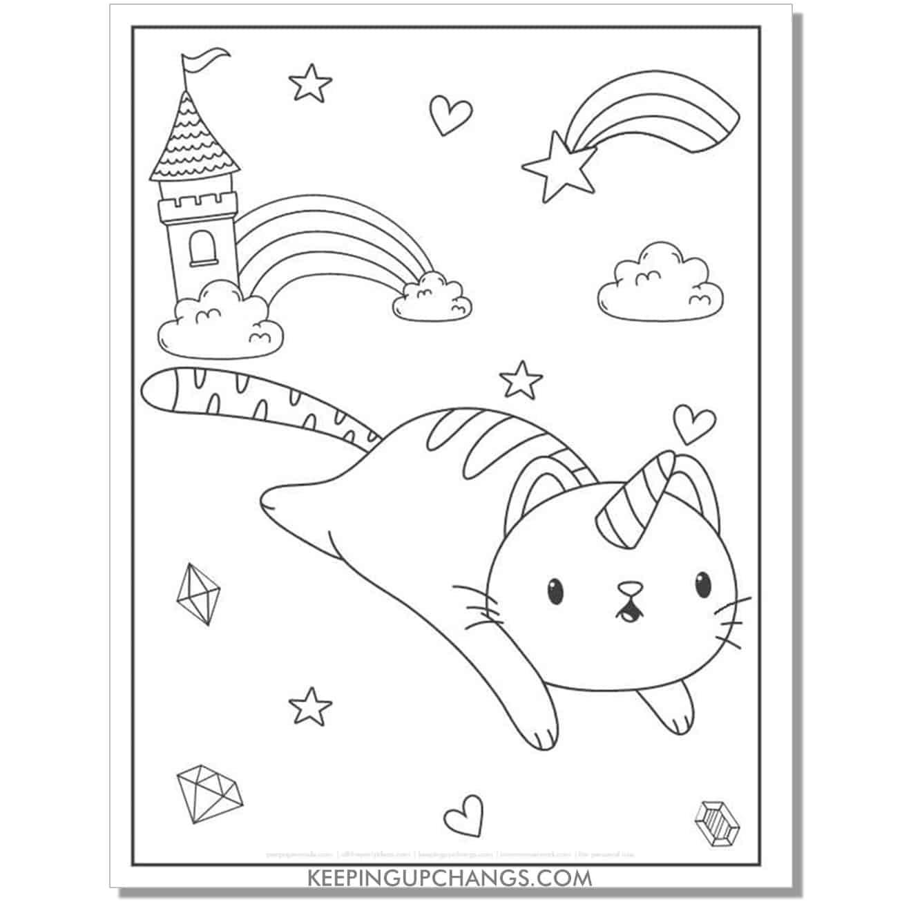 cat unicorn castle diamond rainbow coloring page.