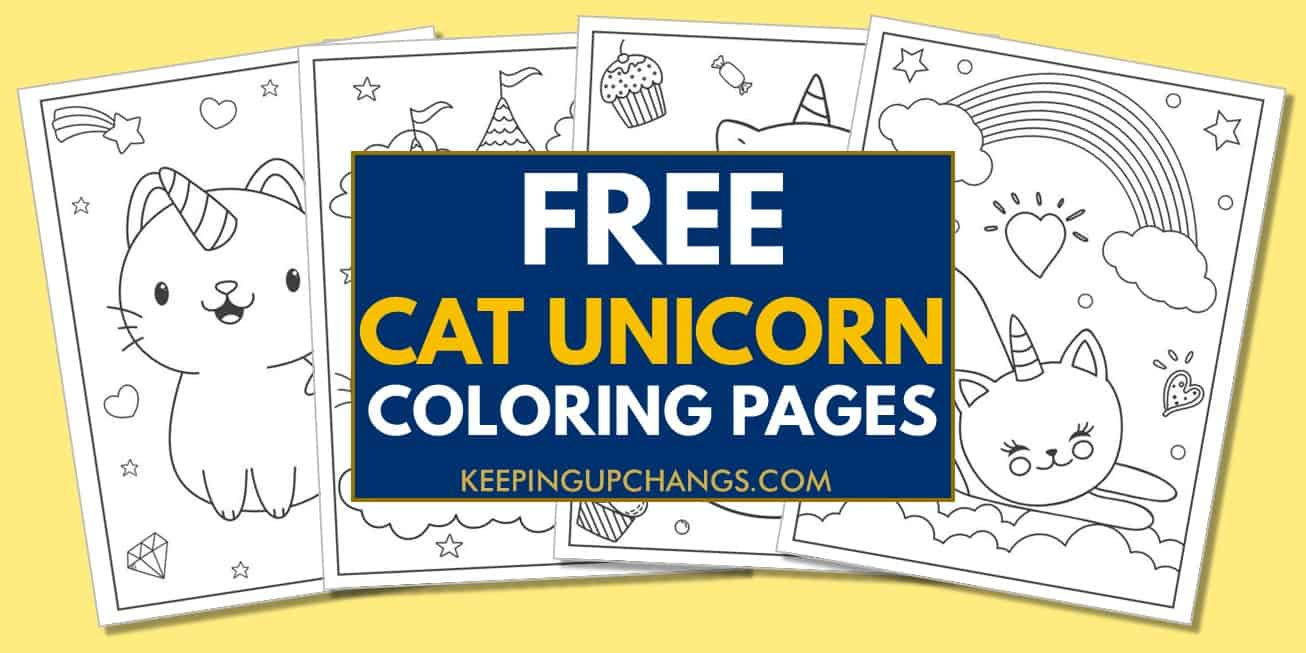 spread of free cat unicorn coloring pages.