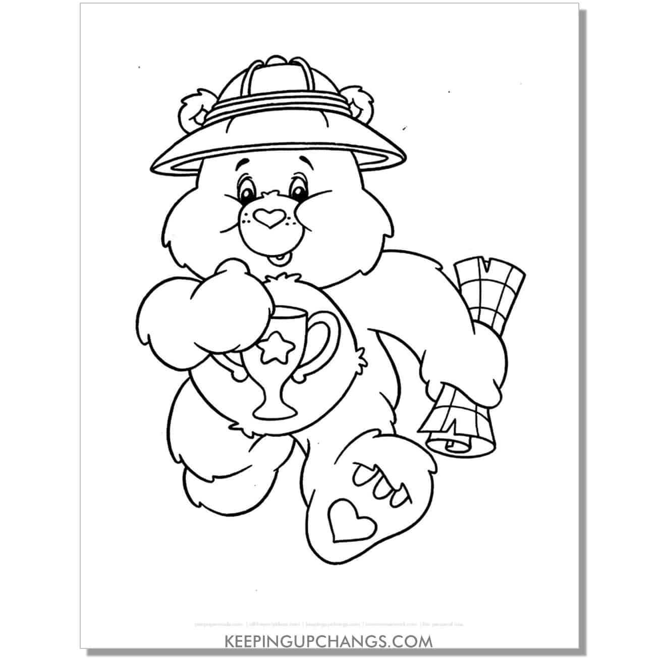 champ care bear coloring page with explorer hat and map.