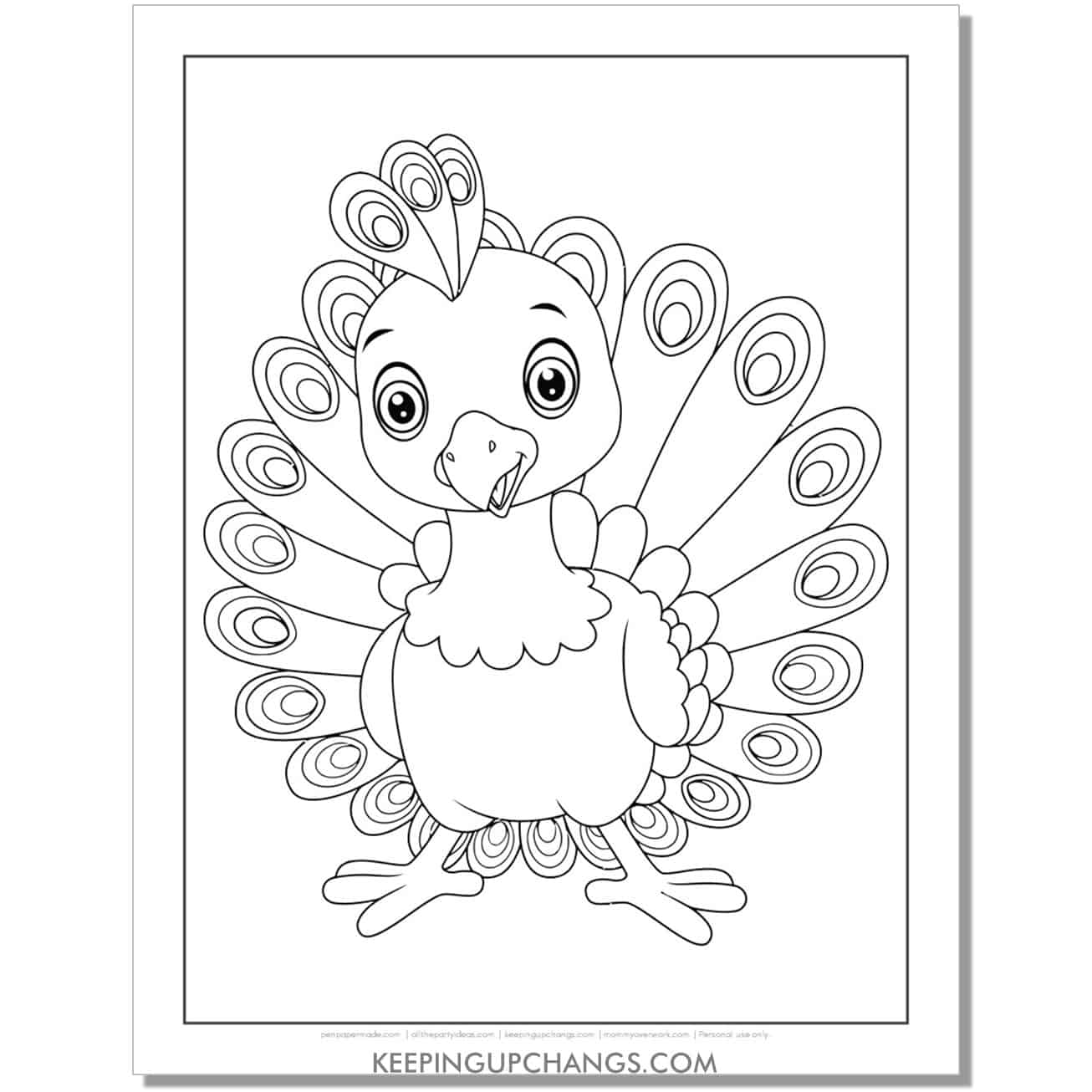 cute baby peacock coloring page.