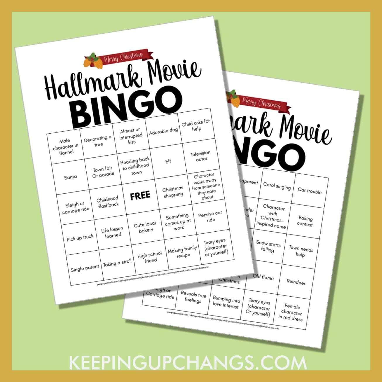 simple easy christmas hallmark movie bingo with free printable in 4 versions.