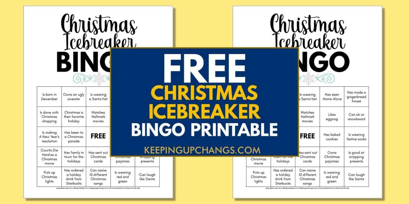 free christmas human icebreaker bingo for adult office parties, coworkers, etc.